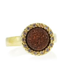 Marcia Moran | Metallic Pave Setting Round Druzy Ring Red Size 7 | Lyst