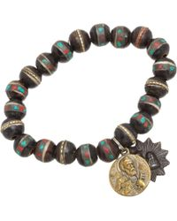 Miracle Icons - Brown Turquoise Coral Inlay Icon Bracelet - Lyst