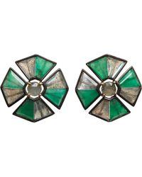 Nak Armstrong - Green Emerald Labradorite Sapphire Button Pleat Earrings - Lyst