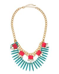 Panacea | Blue Spiked Bib Necklace Turquoisepink | Lyst