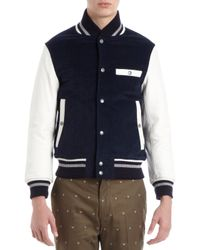 Thom Grey | Blue Leather Sleeve Letterman Corduroy Jacket for Men | Lyst