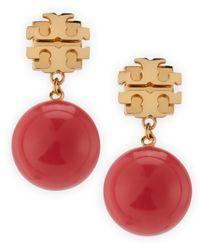 Tory Burch - Pink Evie Logo Drop Earrings Coral - Lyst