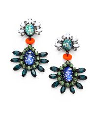DANNIJO | Green Swarovski Crystal Drop Earrings | Lyst