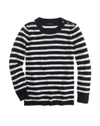 J.Crew - Blue Anchor button Sweater in Stripe - Lyst