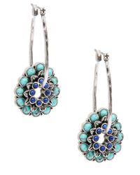 Lucky Brand - Green Silvertone Hoop Earrings With Turquoise Lapis Flower Pendants - Lyst