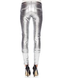 MICHAEL Michael Kors - Metallic Leather Moto Pants - Lyst