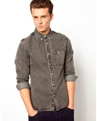 ASOS | Black Denim Shirt In Long Sleeve for Men | Lyst