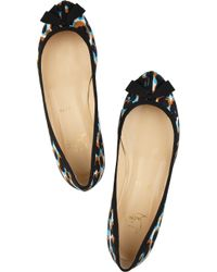 Christian Louboutin - Black Balindono Printed Canvas and Leather Ballet Flats - Lyst