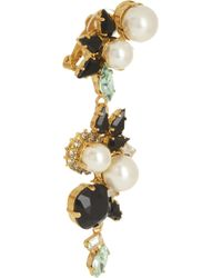 Erdem - White Vickisarge Goldplated Swarovski Pearl and Crystal Clip Earrings - Lyst