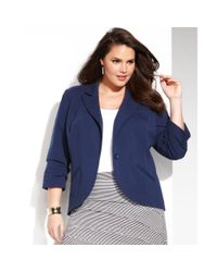 INC International Concepts - Blue Plus Size One Button Blazer - Lyst