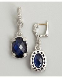 Judith Ripka | Metallic Blue Corundum and Silver Drop Earrings | Lyst