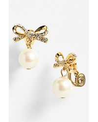 kate spade new york | Metallic Skinny Mini Bow Faux Pearl Drop Clip Earrings | Lyst