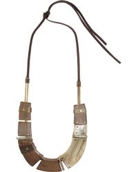 Lanvin | Brown Iliade Goldtone Horn and Wood Collar Necklace | Lyst