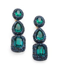 Oscar de la Renta | Green Asymmetric Crystal Clip Earrings | Lyst