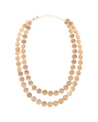 Piper Strand | Metallic Twostrand Hammered Disc Necklace | Lyst