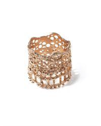 Aurelie Bidermann | Metallic Rose Gold-Plated Lace Ring | Lyst