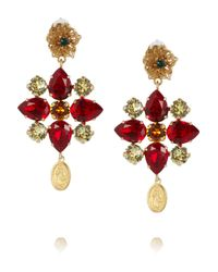 Dolce & Gabbana | Metallic Escape Goldplated Swarovski Crystal Clip Earrings | Lyst