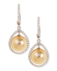 Eli Jewels | Metallic 18k Golden South Sea Pearl & Diamond Halo Earrings | Lyst