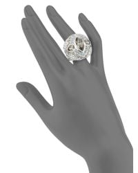 Judith Leiber - Metallic Domed Pavé Crystal Cocktail Ring - Lyst