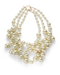 Kenneth Jay Lane | White Faux Pearl Multistrand Necklace | Lyst