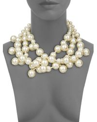 Kenneth Jay Lane - White Faux Pearl Multistrand Necklace - Lyst