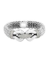 Lagos - Metallic Derby Pave Diamond Bracelet 18mm - Lyst