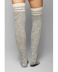 Urban Outfitters - Gray Marled Varsity Stripe Overtheknee Sock - Lyst