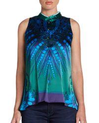 Elie Tahari - Blue Silk Blend Print Blouse - Lyst