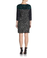 French Connection - Black Sequin Colorblock Dress - Lyst