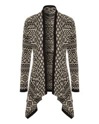 Jane Norman | Gray Fairisle Waterfall Cardigan | Lyst