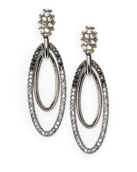 Judith Leiber - Metallic Pave Crystal Oval Drop Earrings - Lyst
