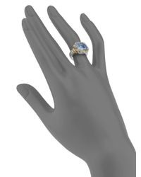Judith Ripka | Blue Square Stone Sterling Silver 18k Yellow Gold Ring | Lyst