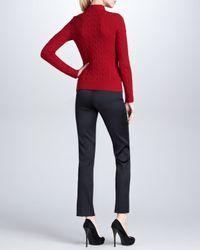 Ralph Lauren Black Label - Red Twist Front Cashmere Cable Knit Top  - Lyst