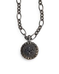 Slane - Black Sapphire Sterling Silver Pendant - Lyst