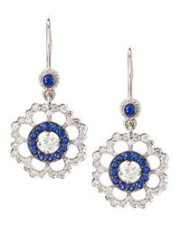 Penny Preville | Metallic Diamond and Sapphire Flower Earrings | Lyst