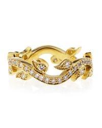 Penny Preville - Metallic Diamond Interlock Leaf Ring Yellow Gold Size 6 - Lyst