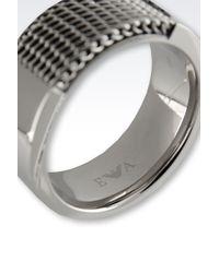 Emporio Armani - Metallic Ring for Men - Lyst