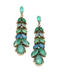 Aerin Erickson Beamon | Green Jeweled Vine Drop Earrings | Lyst