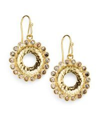 Bavna | Metallic 175 Tcw Champagne Diamond 18k Gold Sunburst Drop Earrings | Lyst