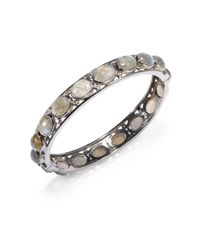 Bavna | Multicolor Labradorite, Diamond & Sterling Silver Bangle Bracelet | Lyst
