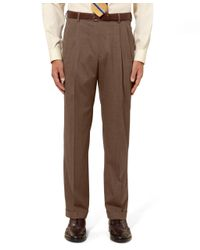 Brooks Brothers - Brown Madison Fit Pleat-front Tic Trousers for Men - Lyst