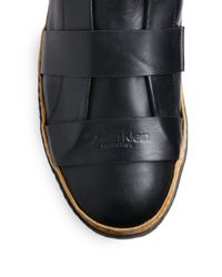 Calvin Klein | Black High Top Multistrap Leather Sneakers for Men | Lyst