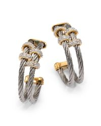 Charriol - Diamond, Stainless Steel And 18K Yellow Gold Double Hoop Earrings/1.25 Inches - Lyst