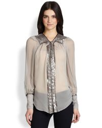 Elizabeth and James - Natural Silk Chiffon Sequintrimmed Blouse - Lyst