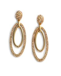 Judith Leiber - Metallic Ellipse Crystal Drop Earrings - Lyst