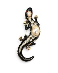 Kenneth Jay Lane | Multicolor Enamel Faux Pearl Lizard Pin | Lyst