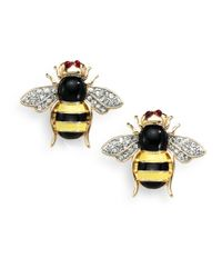 Kenneth Jay Lane | Yellow Crystal Bee Earrings | Lyst