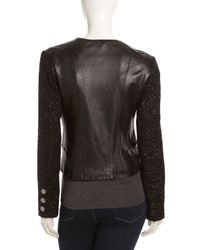 Laundry by Shelli Segal - Asymmetrical Zip Mixed Media Jacket Black Xl - Lyst