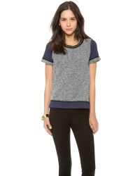 Madewell | Gray Colorblock Embellish Neck Sweatshirt Tee | Lyst