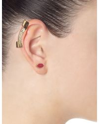 Maria Francesca Pepe | Metallic Gold Swarovski Long Ear Cuff | Lyst